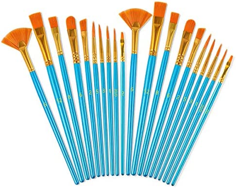 BOOMIBOO Acrylic Paint Brushes Set 20 Pieces Nylon Hair Art Paintbrush Kit for Canvas Oil Watercolor product image