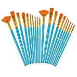 BOOMIBOO Acrylic Paint Brushes Set, 20 Pieces Nylon Hair Art Paintbrush Kit for Canvas Oil Watercolor/Fine Detail Miniature/Body Face/Rock Painting, Artist/Beginner/Kids Craft Supplies