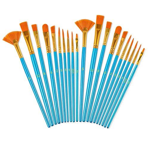 Acrylic Paint Brushes Set, 20 Pieces Nylon Hair Art Paintbrush Kit for Canvas Oil Watercolor/Fine Detail Miniature/Body Face/Rock Painting, Artist/Beginner/Kids Craft Supplies