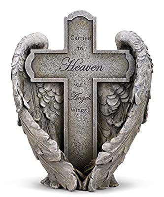 Napco Carried to Heaven on Angels Wings Cross 9 x 11 Inch Resin Decorative Bereavement Statue