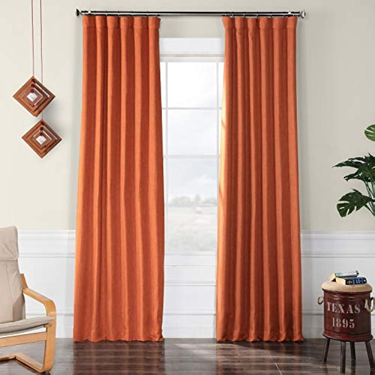 HPD Half Price Drapes BOCH-LN18517-108 Faux Linen Room Darkening Curtains, 50 x 108, Desert Orange