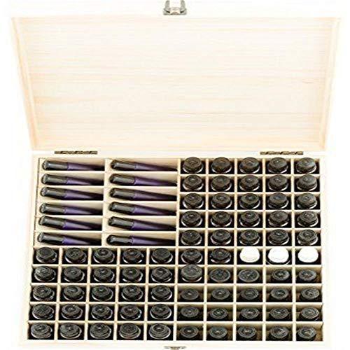 Cineman Houten kist voor etherische olie, box voor etherische olie met 87 vakken, organizer voor nagellak, transportbox voor make-up flessen