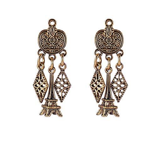 Pendientes Pendientes Colgantes De Torre De Letras De Oro Vintage Pendientes De Diamantes Geométricos Huecos Pendientes Joyería