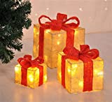 Bambelaa! Led Deko Leucht Geschenk Boxen - 3er Set inkl. Timer Funktion - Weihnachts Dekoration Weihnachtsdeko Beleuchtungsartikel (Gelb)