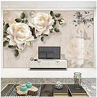 カスタム壁画 3D mural 白いバラの花 3Dの壁紙 リビングルームテレビソファの家の装飾 -400x280cm/157x110inch