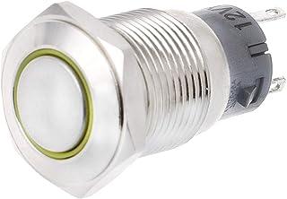 Gazechimp ON Off Start Push Button Indicator Self-Locking Yellow Switch 16mm