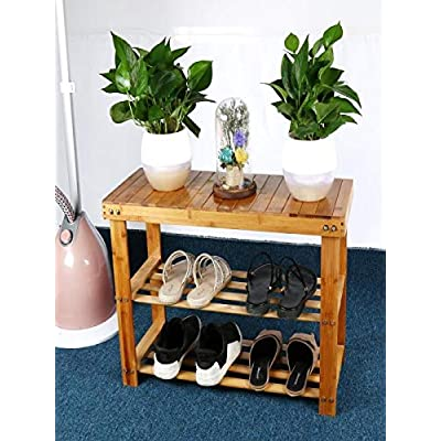 """Natural Bamboo Entryway Bench,28"""" Sturdy Sh..."""