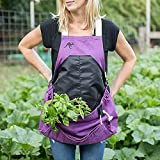 Roo Garden Apron - Garden, Kitchen and Harvest Smock with Bib, Storage Pockets and Canvas Collection Pouch - Womens 1 Size Fits all - Cotton Canvas, Machine Washable - Purple Orchid