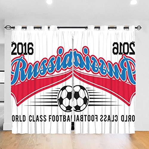 HONGYANW Cortinas Opacas para Ventana Hongyang Personalizadas Euro 2016 Football Rusia Blanco Ojal térmico Aislado habitación Cortina para recámara salón 52 x 72 Pulgadas, 2 Paneles