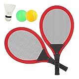 Dreamon Tennisschläger Racket Set mit Badminton bälle Softball Strandspielzeug im Freien für Kinder ab 3 4 5 Jahren (Rot)