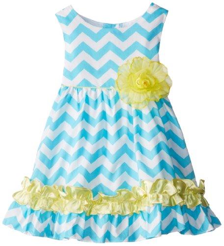 Rare Editions Little Girls' Chevron Print Woven Dress, Turquoise/White/Yellow, 2T