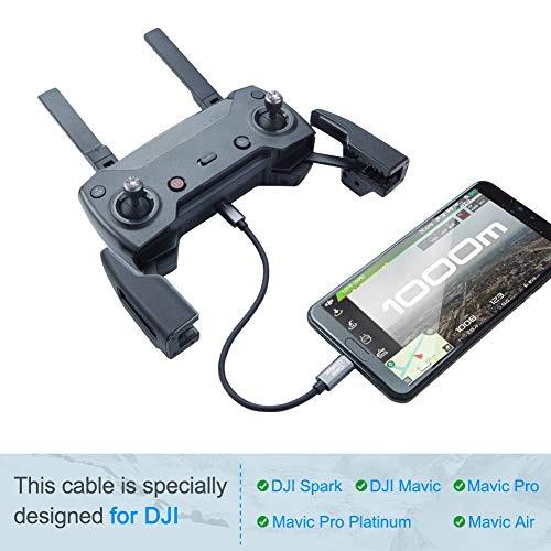 CableCreation DJI Mavic USB-C Kabel, 20cm USB-C auf Micro-USB-A-Kabel Kompatibel mit DJI Spark/DJI Mavic/Mavic Pro/Mavic Pro-Platin/Mavic Air, Bosch Kiox/E-Bike usw. Aluminium, Space-Grau