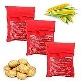 JAHEMU 3PCS Bolsa para Patatas en Microondas Patata Microondas Bolsa Lavable Reutilizable Bolsa de Patata de Microondas Bolsa de Cocina Patatas Sólo en 4 Minutos (Rojo, 24x 19cm)
