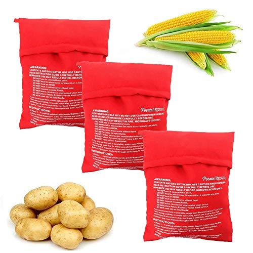 JAHEMU 3 Stück Potato Express Kartoffel Tasche Backen Tool Kartoffel Mikrowelle Beutel für Microwelle Kochtasche Tortillas Maiskolben Express Backen Werkzeug (Rot)