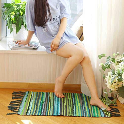 Teppiche für Wohnzimmer Sofa Bereich Dekoration Mediterranen Stil Streifen Muster Quaste Dekoration Mode Design 100% Baumwolle Multi Verwendung(Grün,50x80cm)