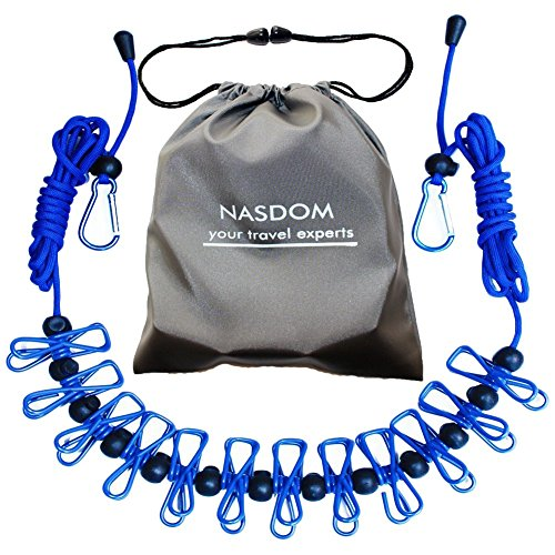 Nasdom Travel Clothesline,4m/13ft Portable Retractable Adjustable Clothes Line Rope with 1 Waterproof Bag, 12 Clothespins, 13 Anti-Skid Clips for Outdoor and Indoor(Blue) (Hills Portable 170 Clothesline Best Price)