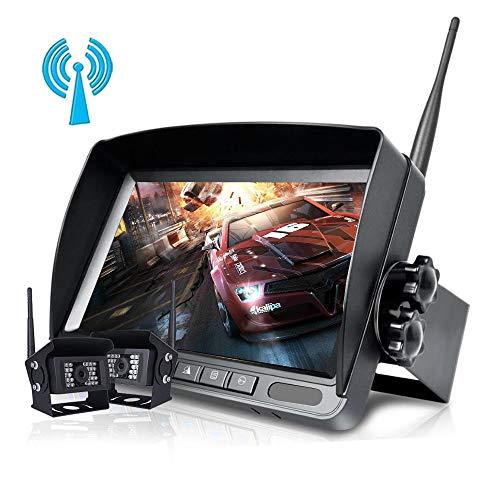 Digitale kabellose Rückfahrkamera mit 1024 x 768 HD-Monitorsystem, geteiltem Bildschirm mit Sonnenschutz und zweiteiligen Wasserdichten IP68-IR-Lichtkameras