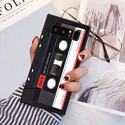 YaoLang Samsung Galaxy Note 8 Square Edges Case, Vintage Cassette Tape Soft TPU Slim Square Case for Samsung Galaxy Note 8