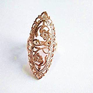 Fashion Woman Jewelry 925 Sterling Silver Ring Carved for Wedding Parties,Floral Carved Finger Ring 925 Sterling Silver Girly Casual Fancy Classic