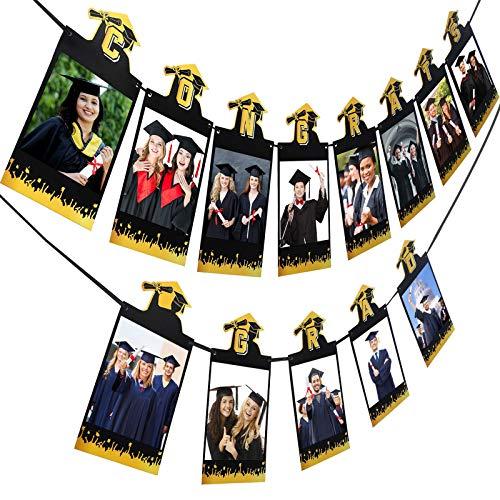 Banner Fotografico Laurea 2021 Segno di Complimenti in Oro Nero Ghirlanda di Foto da Appendere Congrats Grad Decorazione di Oggetti di Scena per Foto di Laurea