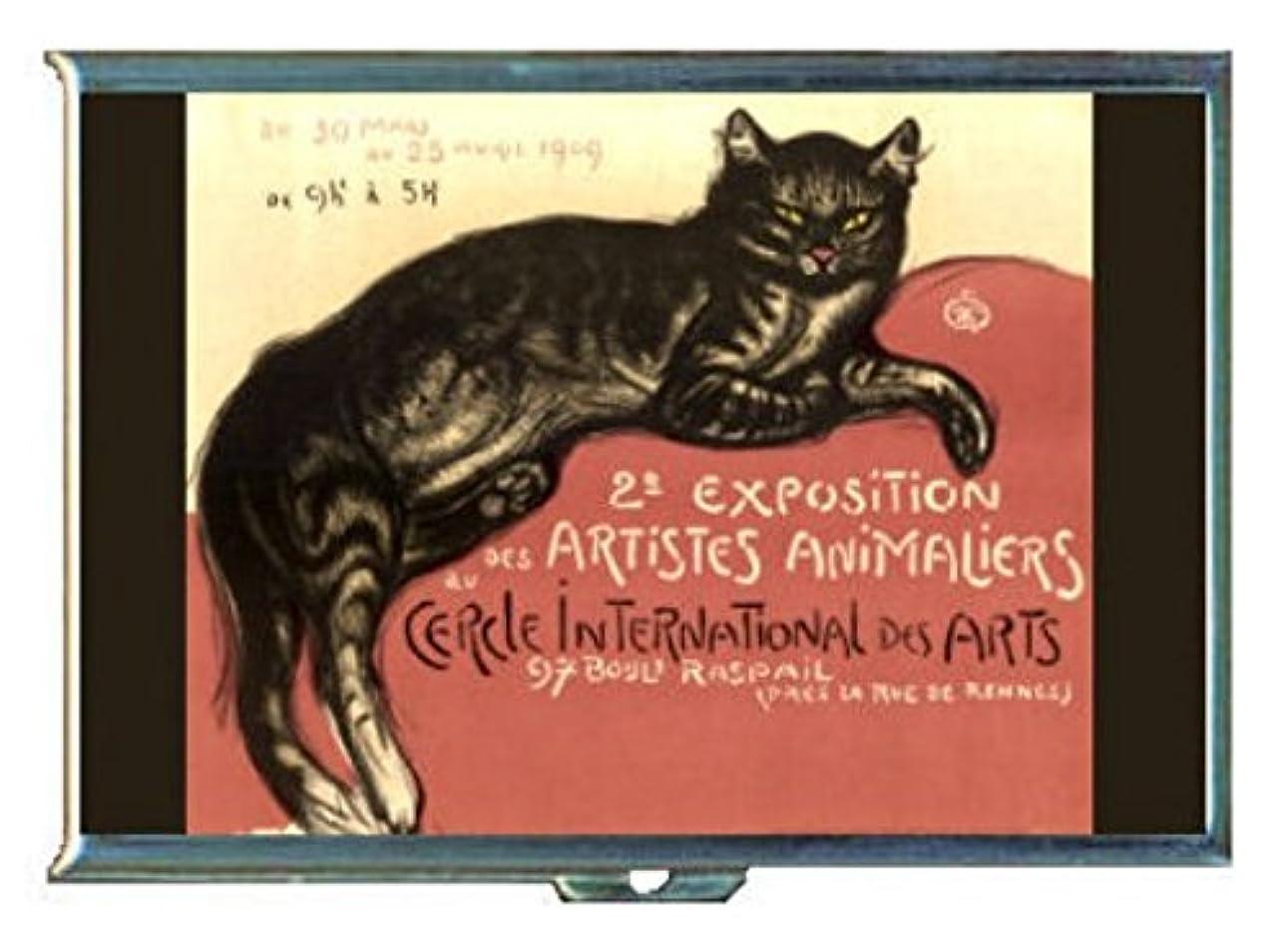 音節びっくりするナラーバーフランス語Chat Noir Black CatステンレススチールIDまたはCigarettesケース( Kingサイズまたは100?mm )