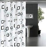 シャワーカーテン 防水 防カビ 加工 浴室 カーテン 風呂カーテン 防水 間仕切り 遮像 リング付属 厚手 取り付け簡単 2デザイン (120×180cm, チェック柄XS)