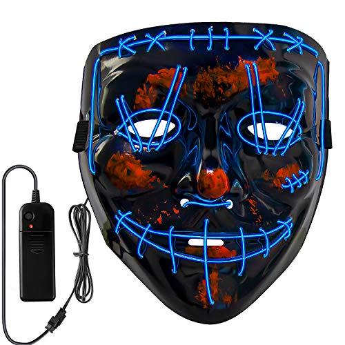 Neusky Halloween Mask, LED Light Up Mask, Purge Mask for Halloween Carnival Masquerade (2020 Black-Blue)