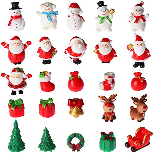 Ioffersuper 25Pcs Christmas Miniature Figurines Snowman Santa Claus Red Hat Socks Gift Christmas Tree Bell Resin Ornaments for Garden Miniature Scenes Micro Landscape DIY Christmas Crafts