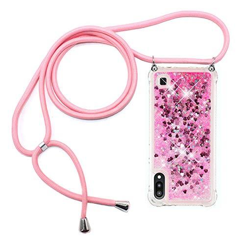 Ptny Case Funda Colgante movil con Cuerda para Colgar Samsung Galaxy A10 Carcasa Correa Transparente de TPU con Cordon para Llevar en el Cuello con Ajustable Collar Cadena Cordón en Rosa