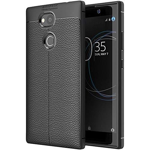 ebestStar - kompatibel mit Sony Xperia L2 Hülle L2 Dual (2018) Lederhülle Design TPU Handyhülle Schutzhülle, Flex Silikon Hülle, Schwarz [Phone: 150 x 78 x 9.8mm, 5.5'']
