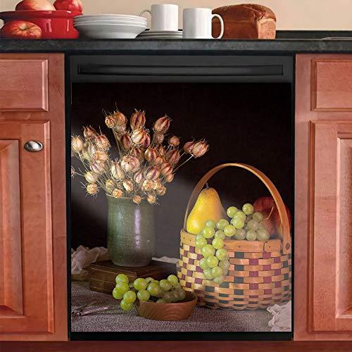 Magnet Dishwasher Cover Sticker,Fruits Basket Decorative Kitchen,Grapes and Flower Magnetic Decal Decor Refrigerator Dishwasher 23x26inch