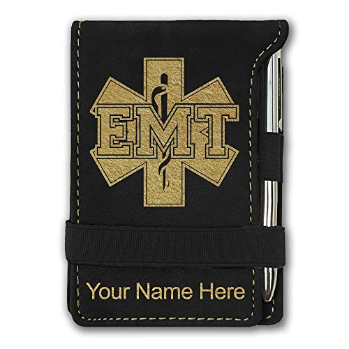 Mini Notepad, EMT Emergency Medical Technician, Personalized Engraving Included (Black with Gold)