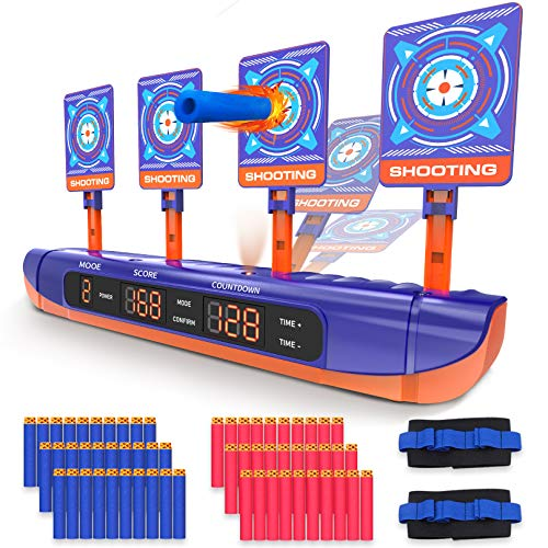 Hot Bee Electronic Shooting Targets for Nerf Guns, 4 Modes Digital Scoring Auto Reset Target for Shooting Practice Toys w/ 60 Refill Darts & 2 Hand Wrist Bands Ideal Gift Toy for Kids and Boys