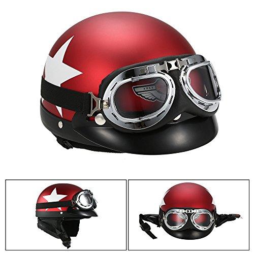 KKmoon Offener Motorradhelm, mit Visier, Brille und integriertem Schal rot