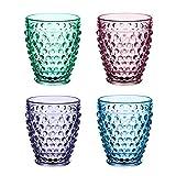 Krrinnhy Vasos De Agua De Colores | Set 4 Piezas | 33 CL | Vasos Para Vino Jugo Agua Whisky Restaurante Y En Fiestas | Apto Para Microondas Y Lavavajillas