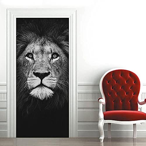 3D Pegatina Puerta León Animal Puerta Pegatina Pvc Adhesivo Impermeable Papel Tapiz Cartel Decoración Del Hogar