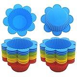 YUESEN Cupcake-Förmchen,24 Stück Wiederverwendbare Silikon Backformen Muffin-Formen,BPA freies Lebensmittel Silikon,Silikonformen für Muffins und Cupcakes,Bunt