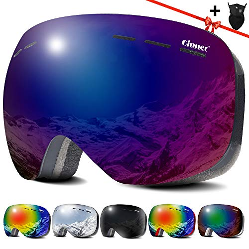 Qinner OTG Ski Goggles-Anti Fog UV Protection Snowboard Goggles with Free Ski Mask-Helmet Compatible...