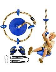 CHAIRLIN Boomklimmen schommel met platform kinderen buiten hangende boomschijf schommel klimtouw incl. handschoenen.