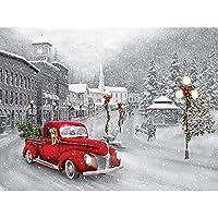 QMGLBG 5Dダイヤモンド塗装 冬の赤い車のダイヤモンド塗装大人の子供ラインストーンクラフト装飾アート30*40cm