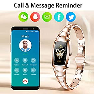 Smart Watch for Women, Waterproof Fitness Traker with Blood Pressure Heart Rate Blood Oxygen Sleep Monitor Message Notification Sport Pedometer, Smartwatch Bracelet for iOS Android Phones(Rose Gold)