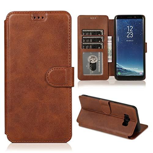 MOHAMED para Samsung Galaxy S8 Plus Calva Textura Hebilla magnética Flip Horizontal Funda de Cuero con Soporte y Ranuras para Tarjetas y Marco de la Billetera (Color : Coffee)