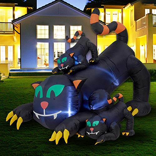 Twinkle Star 6 ft Halloween Inflatable Decorations Lighted Black Scared Cats, Animated Halloween Blow Up Cat Yard Prop, Giant Lawn Decorations with LED Light, for Home Yard Lawn Garden Party Outdoor