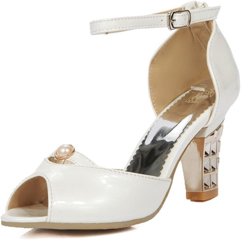 WeenFashion Women's Blend Materials Solid Buckle Peep Toe High Heels Sandals
