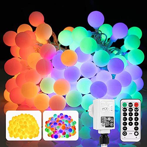 Led Lichterkette, 13M 100 LED RGB Kugel Partybeleuchtung Strom, Einstellbar für Warmeweiß oder Bunt, Fernbedienung, Merk Funktion, Ideale Lichterkette Mit Stecker für Innen, Hochzeit, Außen usw.
