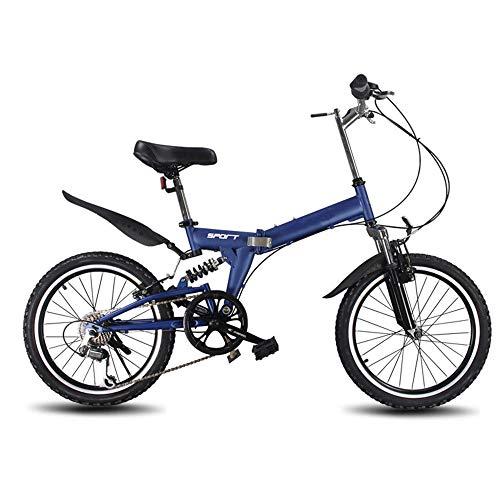 20 Pulgadas Bicicleta Pleggable Hombres Mujeres Bicicleta De Montaña Todo Terreno Para Adultos Asiento De Manillar Regolabile Bike Ligera Portátil Bicicleta Urbana Para Estudiantes,Azul