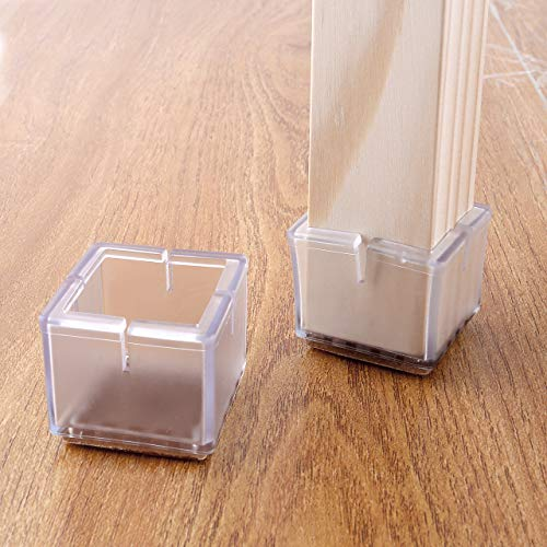 WarmHut Chair Leg Floor Protectors, 16pcs Transparent Clear Silicone Table Furniture Leg Feet Tips Covers Caps, Felt Pads, Prevent Scratches, Wood Floor Protector (Square)