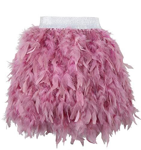 keland Faldas de Mujer para Plumas verdaderamente Naturales, Fiesta Familiar, Falda de Plumas (Rosa (Dusty), S)
