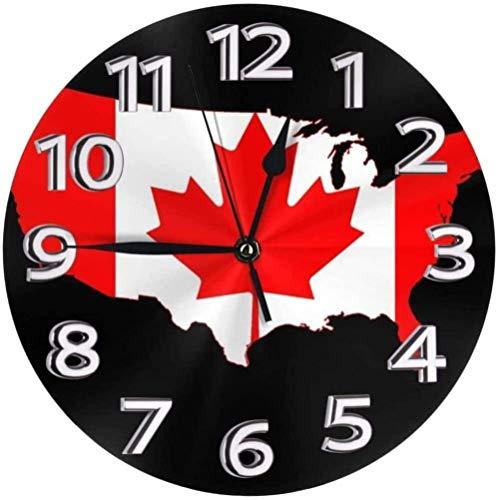 Reloj de pared Bandera de Canadá Mapa Reloj de pared Png Reloj de pared Relojes decorativos a prueba de agua Reloj ligero con manecillas de números romanos Reloj de pared redondo duradero que no hac