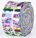 Soimoi 40 Unids Florales Impresión De Algodón Telas De Precorte Para La Acolchado Tiras De Artesanía De 2.5 Pulgadas Rollo De Jalea - Menta En Colores Pastel